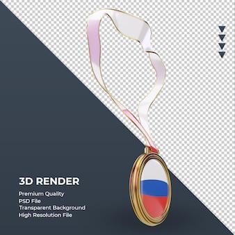 Bandeira russa medalha 3d renderizando vista esquerda Psd Premium