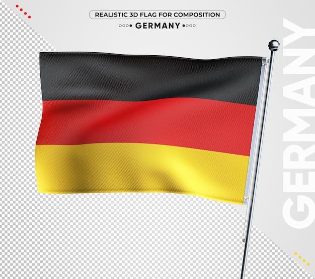 Bandeira texturizada 3d da alemanha para composição isolada