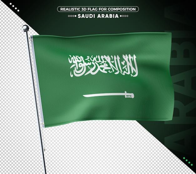 Bandeira texturizada 3d da arábia saudita para composição