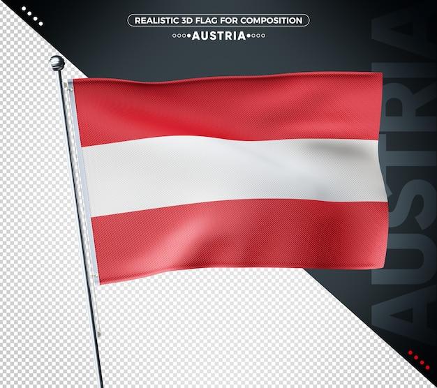 Bandeira texturizada 3d da áustria para composição