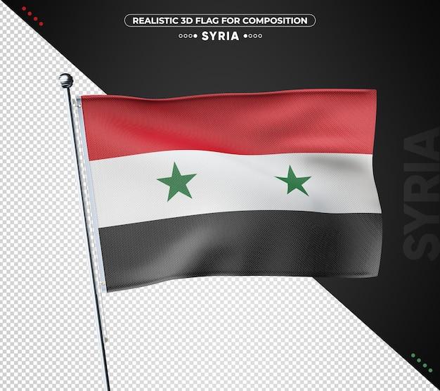 Bandeira texturizada 3d da síria para composição