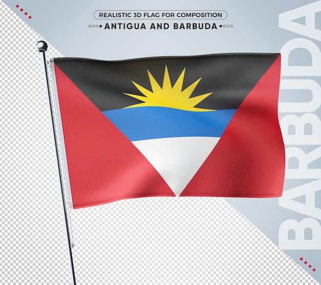 Bandeira texturizada 3d de antígua e barbuda para composição Psd Premium
