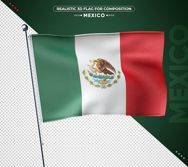 Bandeira texturizada 3d do méxico para composição