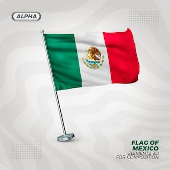 Bandeira texturizada 3d realista do méxico