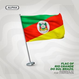 Bandeira texturizada 3d realista do rio grande do sul