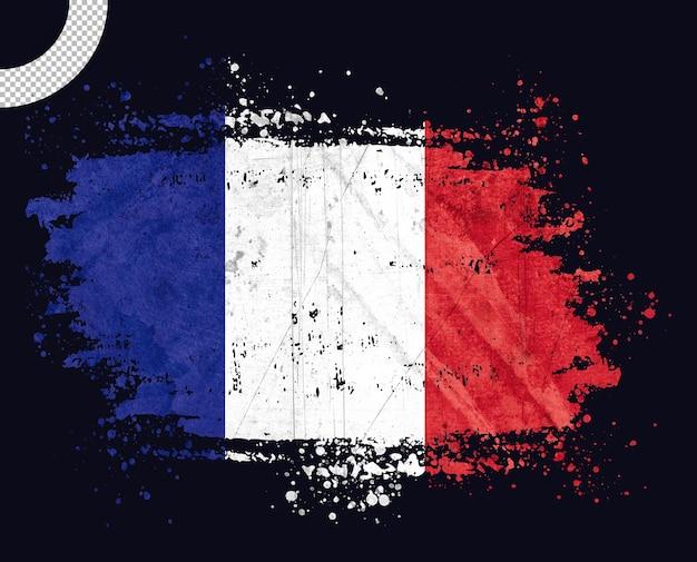 Bandeira vintage da frança com pincelada