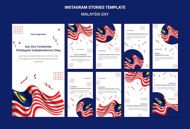 Bandeiras de histórias do instagram do dia da independência da malásia