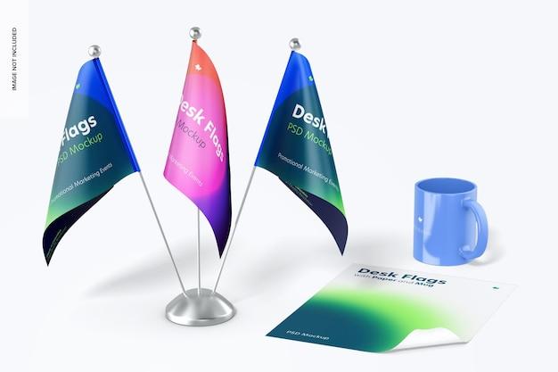 Bandeiras de mesa com caneca e maquete de papel