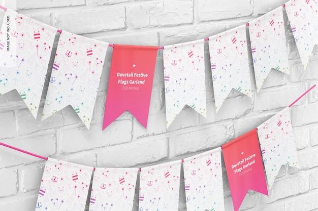 Bandeiras festivas de cauda de pomba guirlanda na maquete de parede