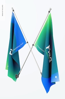 Bandeiras mockup, cruzadas
