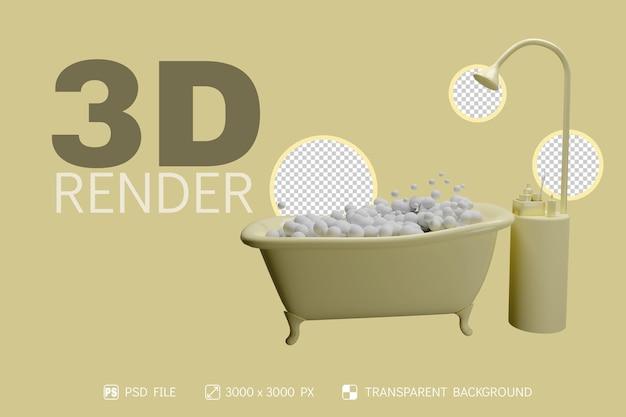 Banheira 3d, chuveiro e produtos de higiene pessoal com fundo isolado