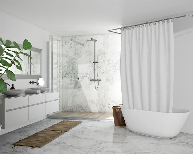 Banheira com cortina, armário e chuveiro