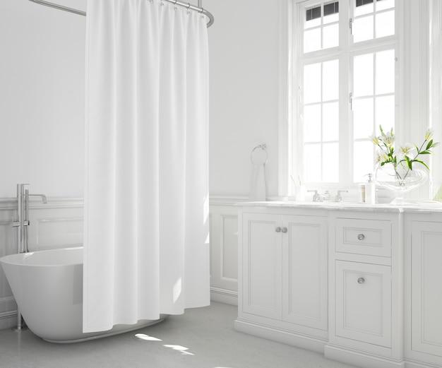 Banheira com cortina, armário e janela
