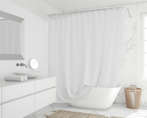 Banheira com cortina e armário