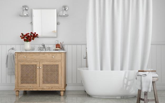 Banheira com cortina e pia no armário