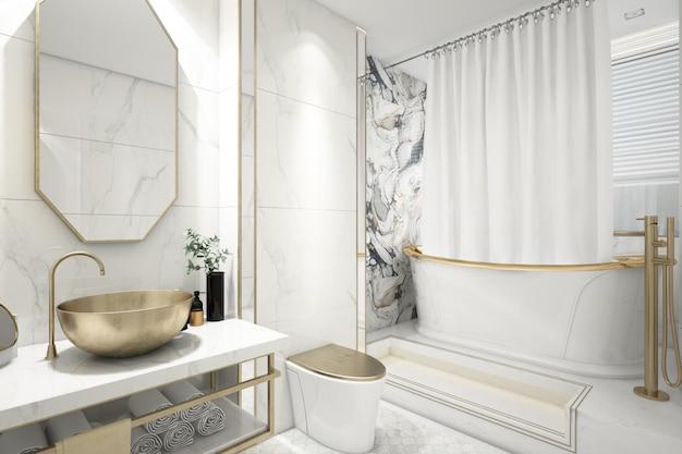 Banheiro elegante realista com banheira
