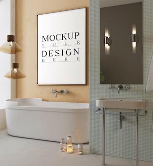 Banheiro moderno com moldura de pôster de maquete