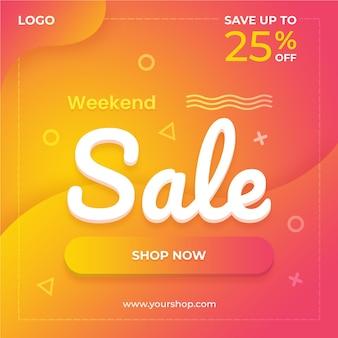 Banne quadrada de venda de fim de semana para anúncios de mídia social e modelo de postagem