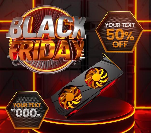 Banner 3d black friday video card neon com pódio com texto editável