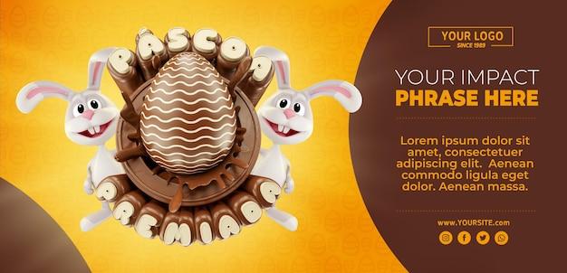 Banner 3d premiado de páscoa no brasil realista com chocolate e coelho