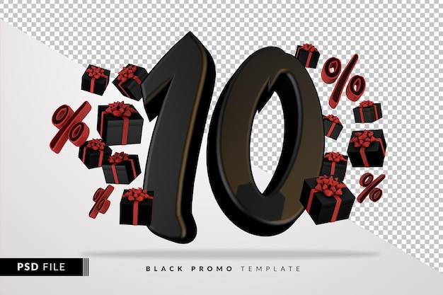 Banner 3d preto número 10 da black friday com caixas de presente escuras