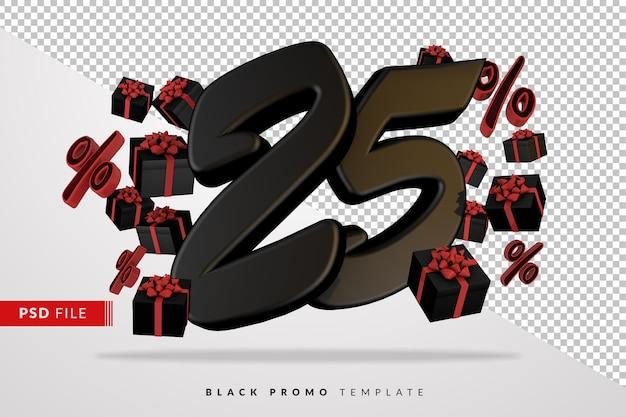 Banner 3d preto número 25 da black friday com caixas de presente escuras