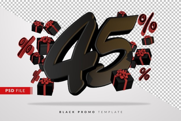 Banner 3d preto número 45 da black friday com caixas de presente escuras