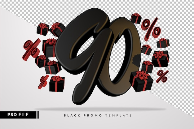 Banner 3d preto número 90 da black friday com caixas de presente escuras