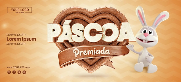 Banner 3d realista da páscoa do brasil em formato de coração com chocolate e coelho