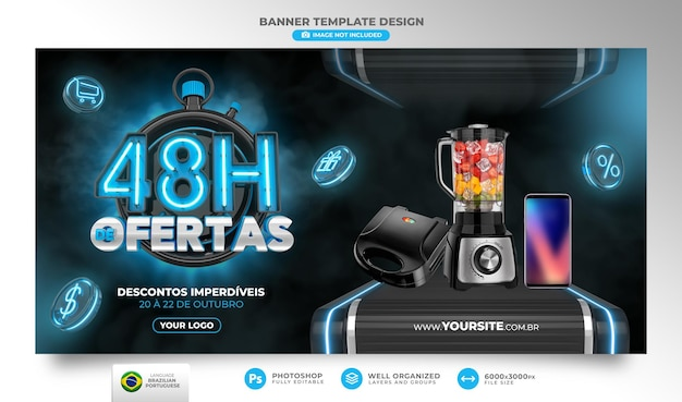 Banner 48 horas de ofertas no brasil renderização de template 3d em português para marketing