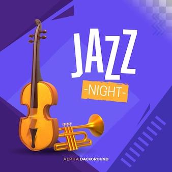 Banner abstrato de música jazz. ilustração 3d