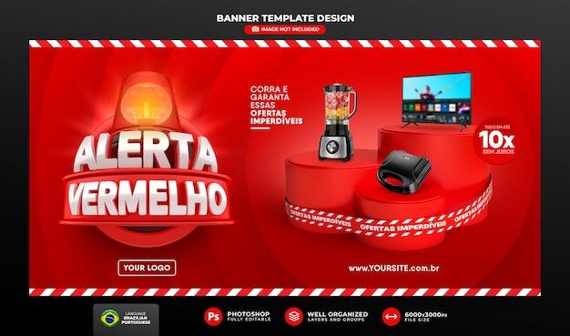 Banner alerta vermelho de ofertas no brasil render 3d template design em português