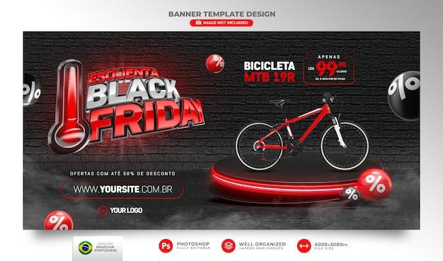 Banner black friday 3d realista render para composição em português brasileiro