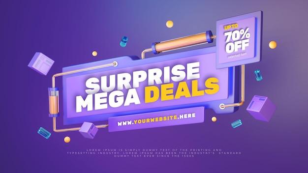 Banner colorido de promoção de venda com desconto 3d