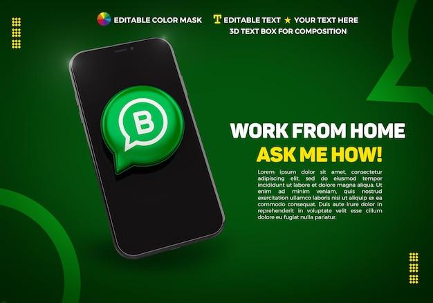 Banner com celular e ícone 3d whatsapp bussines