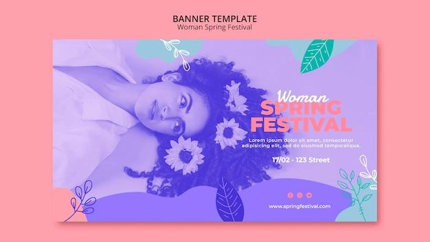 Banner com conceito de festival de primavera de mulher