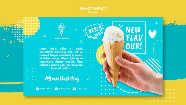 Banner com design de sorvete
