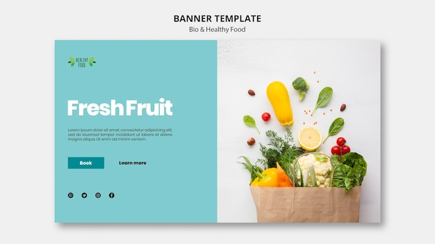 Banner com modelo de alimentos saudáveis e bio