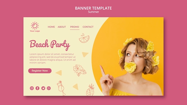 Banner com o conceito de modelo de festa de verão
