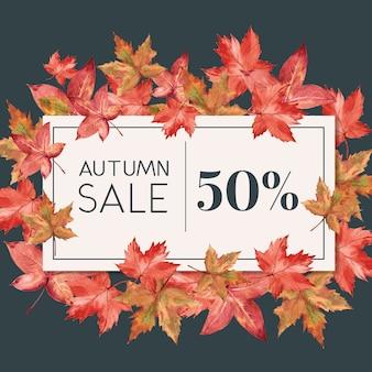 Banner com tema de outono com armação de borda de folhas