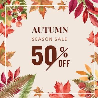 Banner com tema de outono com armação de borda