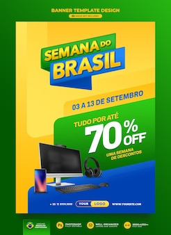 Banner da semana brasileira de renderização em 3d para design de template de campanha de marketing em português