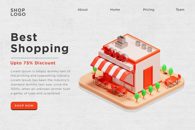 Banner da web da página de destino best shopping 3d illustration psd