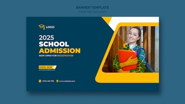 Banner da web de admissão escolar ou modelo de banner social