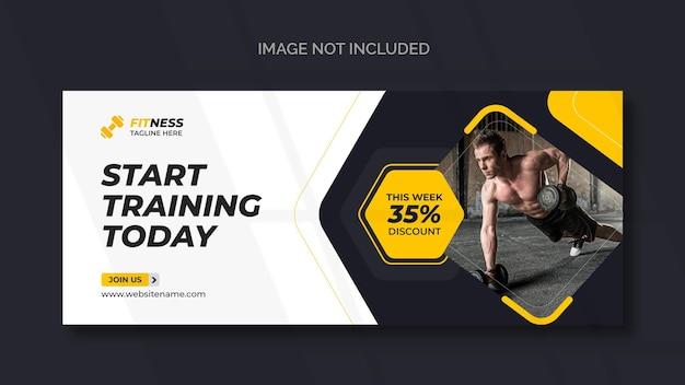 Banner da web de fitness ou modelo de mídia social