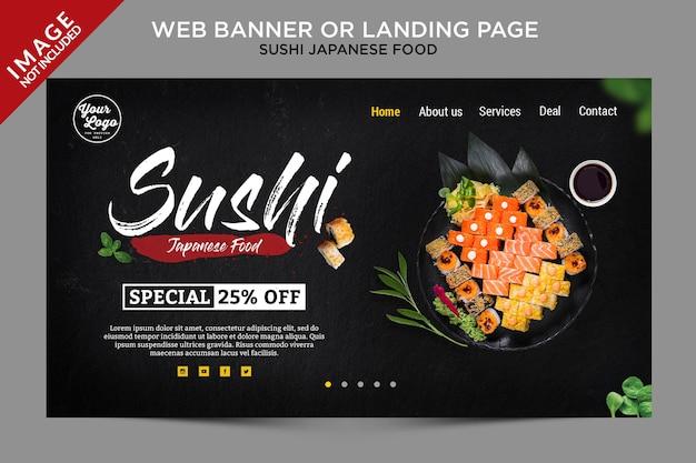 Banner da web de menu japonês de sushi ou modelo de página de destino