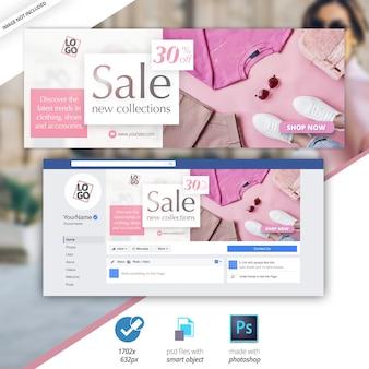 Banner da web de mídia social de venda de capa do facebook