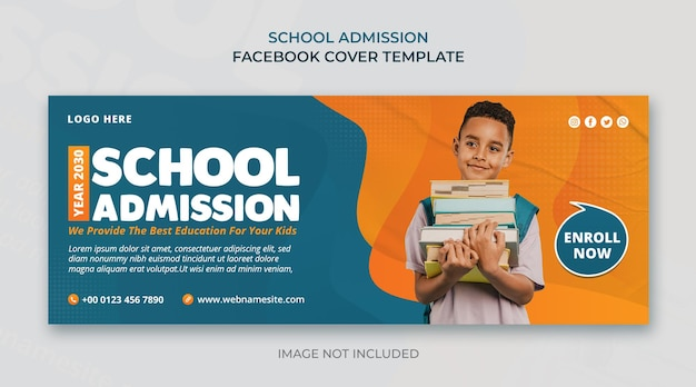 Banner da web de mídia social para admissão escolar e modelo de design de capa do facebook