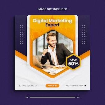 Banner da web de mídia social para agência de marketing digital e modelo de postagem de banner do instagram