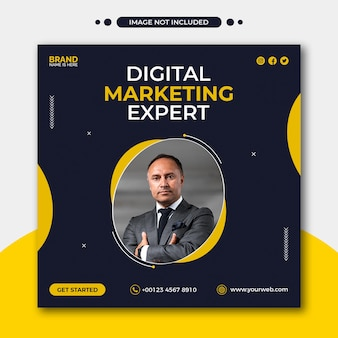 Banner da web de mídia social para agência de marketing digital ou modelo de flyer quadrado